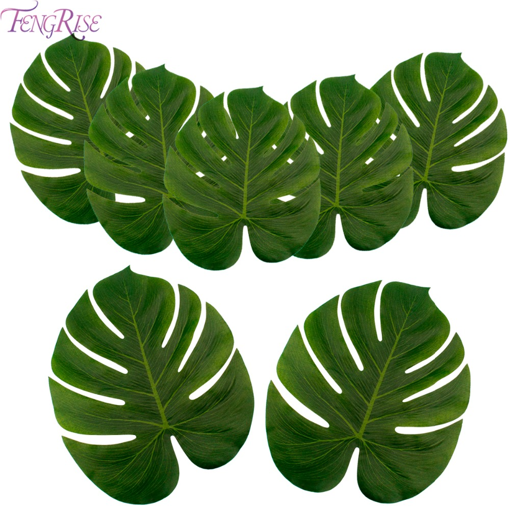FENGRISE Artificial Palm Leaves Hawaiian Luau Theme Party Decorative Palm Leaves for Wedding Decoration Christmas New Year