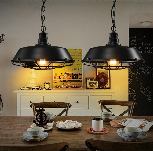 loft style vintage industrial iron art decor pendant light fixtures lighting dining room hanging lamp suspension droplight i