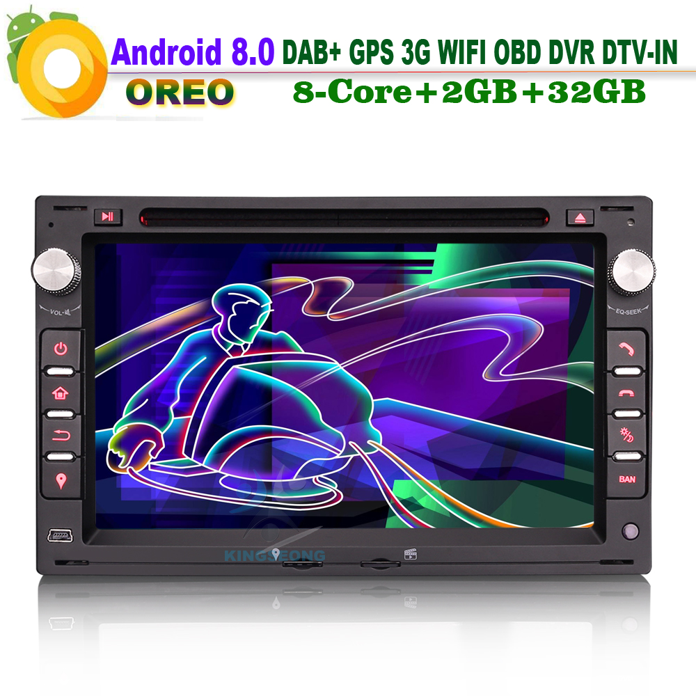 8-Kern Android 8.0 DAB + RDS BT DVD USB SD Autoradio BT WiFi 3G DVD USB Radio Navi AUX OBD miroir lien CAM-IN GPS pour PEUGEOT 307