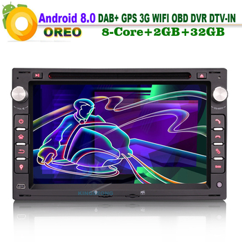 8-Kern Android 8.0 DAB+ RDS BT DVD USB SD Autoradio BT WiFi 3G DVD USB Radio Navi AUX OBD Mirror Link CAM-IN GPS FOR PEUGEOT 307 image