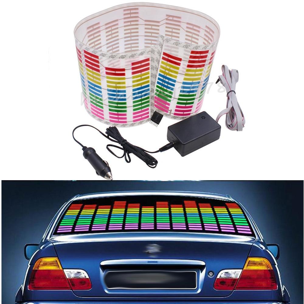 80*19cm Rhythm Music Activated Equalizer Car Decration Sticker Glow Flash Panel LED Car Music Light New Car Styling