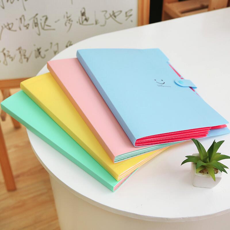 Candy Color Kawaii 32.4x23.6x1.9cm Smile Waterproof File Folder 5 Layers Document Bag Office Stationery PVC School Supplies