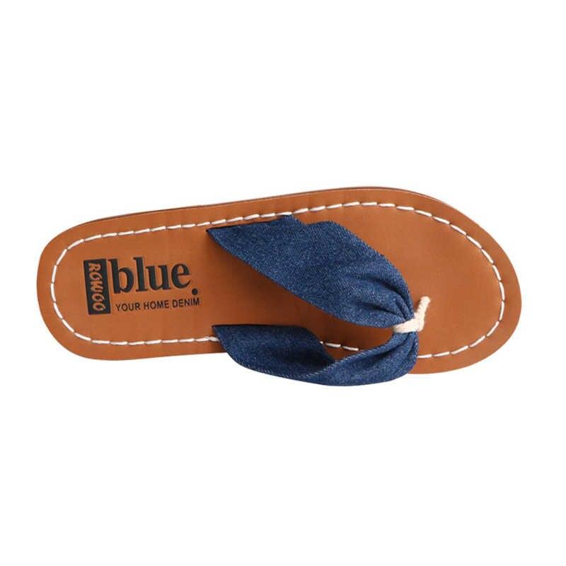 デニムブルー夏のフリップは、女性のファッションゴムエンボス加工アーチサポート女性のスリッパ女性の靴ビッグサイズ少女フリップをプ