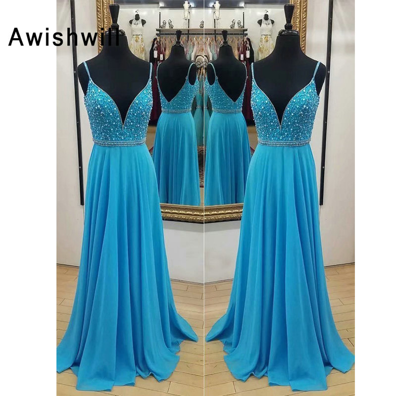 Sexy Backless Spaghetti Strap Beadings Chiffon Blue Long Prom Dress Deep V Neck Formal Evening Gowns Engagement Dress
