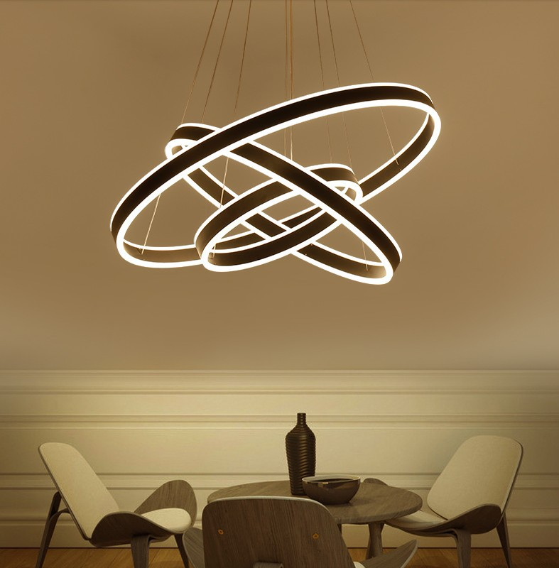 New Remote Dimming Modern Led Pendant Light Circle Rings Acrylic Suspension Hanging Ceiling Lamp For Living Room Bedroom