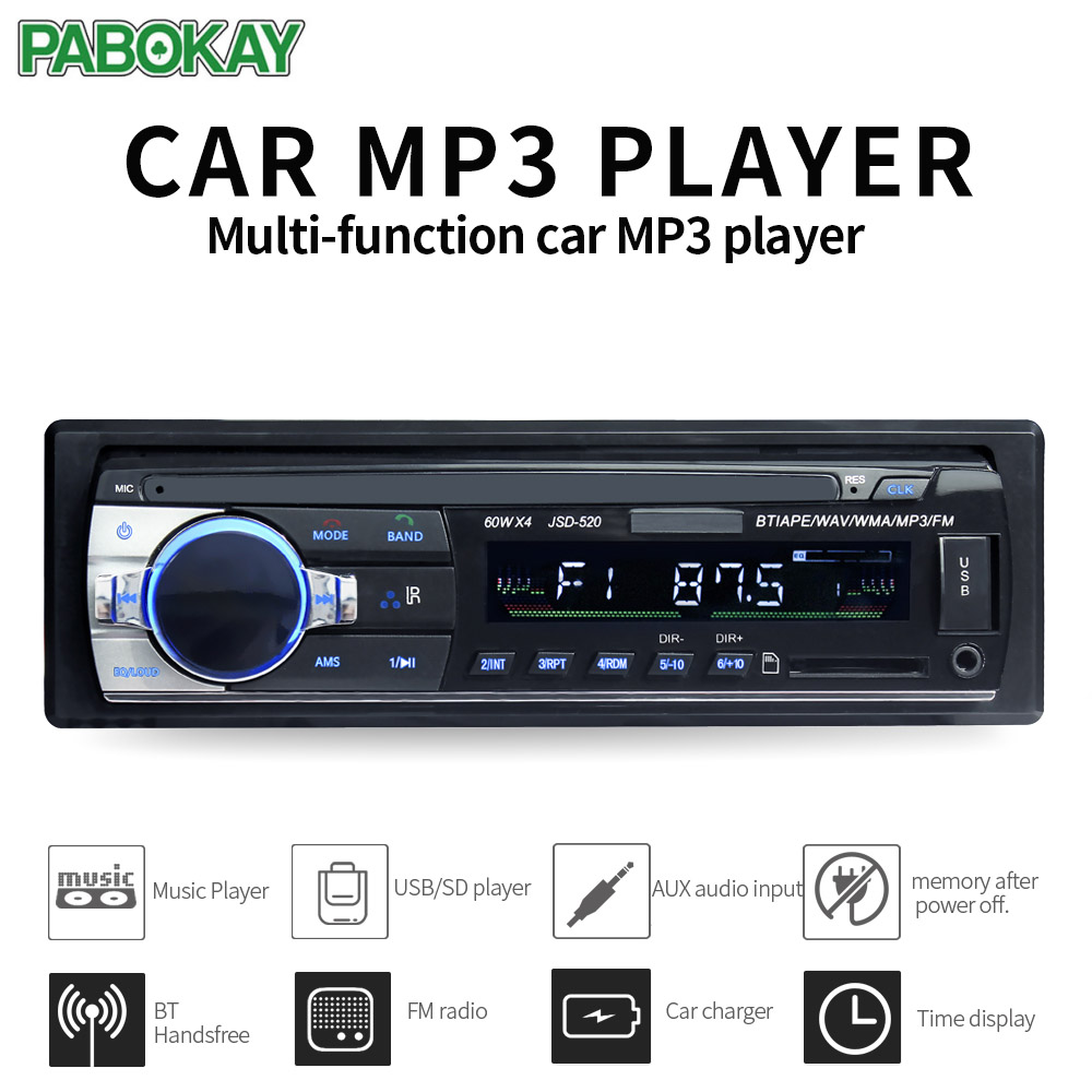 JSD520 ISO 12V Bluetooth Car Stereo In-dash 1 Din FM Aux Input Support Mp3/MP4 USB MMC WMA AUX IN TF Radio Player image