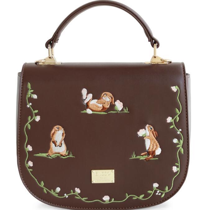 ФОТО Vintage Rabbit Saddle Brown Embroidery Squrriel Cover Animal Prints Faux Leather PU Women's Handbag Crossbody Shoulder Bags Tote