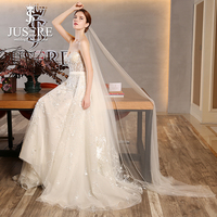JUSERE Sweetheart Embroidery Lace Two Pieces Belt Boing Illusion Bodice With Veil 2 in 1 Court Train Bridal Wedding Dress 2018