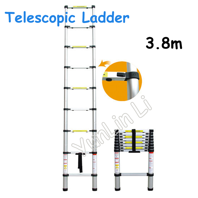 3.8m Portable Extension Telescopic Ladder Adjustable Household Ladder Multipurpose Retractable Aluminum Alloy Straight Ladder