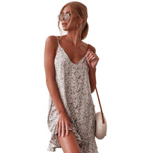 Wild Girl Womens Sexy Halter Top Travel Holiday Summer Floral Print Dress Girls Clothes Women Printed