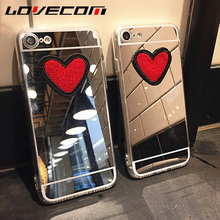 LOVECOM Fashion For Samsung A3 A5 A7 A8 J3 J5 J7 (2016)(2017) J5 J7 Prime DIY Stitches Love Heart Silver TPU Mirror Phone Cases