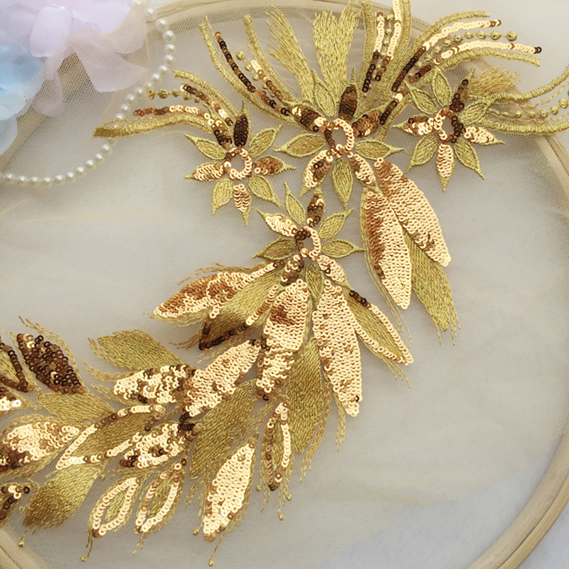 2 Pieces Sapphire Golden Wedding Dress Cording Lace Applique Mesh Lace Fabric Embroidery Sewing Accessories Trim in Lace from Home Garden