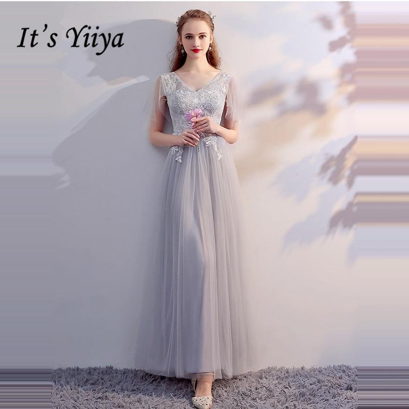 It's YiiYa 2018   Bridesmaids     Dresses   6 Styles V-Neck Formal   Dress   Sexy Backless Tulle Elegant Lady Fashion Designer LX708