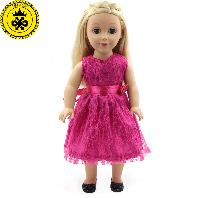 цены American Girl Doll Clothes Rose Princess Dress Doll Clothes for 18 inches American Girl Doll Princess Girl Best Gift MG-164