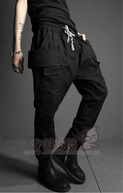 27-44!!Male personality black harem pants fashion casual pants trousers all-match slim trousers
