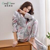 Female's pajamas spring and autumn long sleeve set 100% cotton plus size cardigan shirt and pants set sleepwear leisure lounge