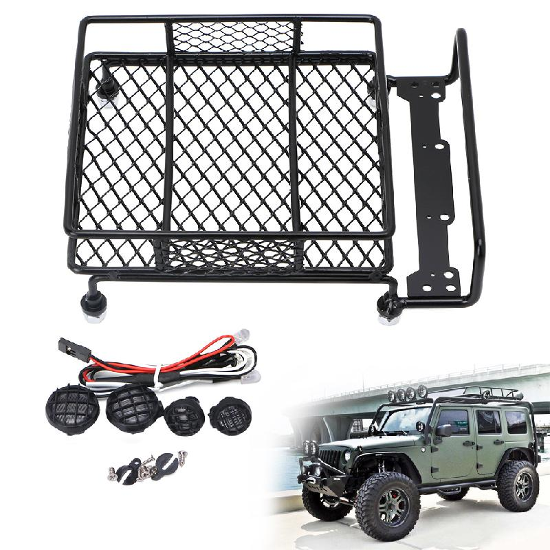 KST-133 Aluminum Alloy Roof Luggage Rack With LED Lights Set For 1/10 RC Cars Crawler Rock Rally 4WD SCX10 CR01 D90 CC01 AXIAL 2pcs set aluminum piggyback shock absorber springs suspension for 1 10 rc crawler car axial scx10 wrangler d90 cc01