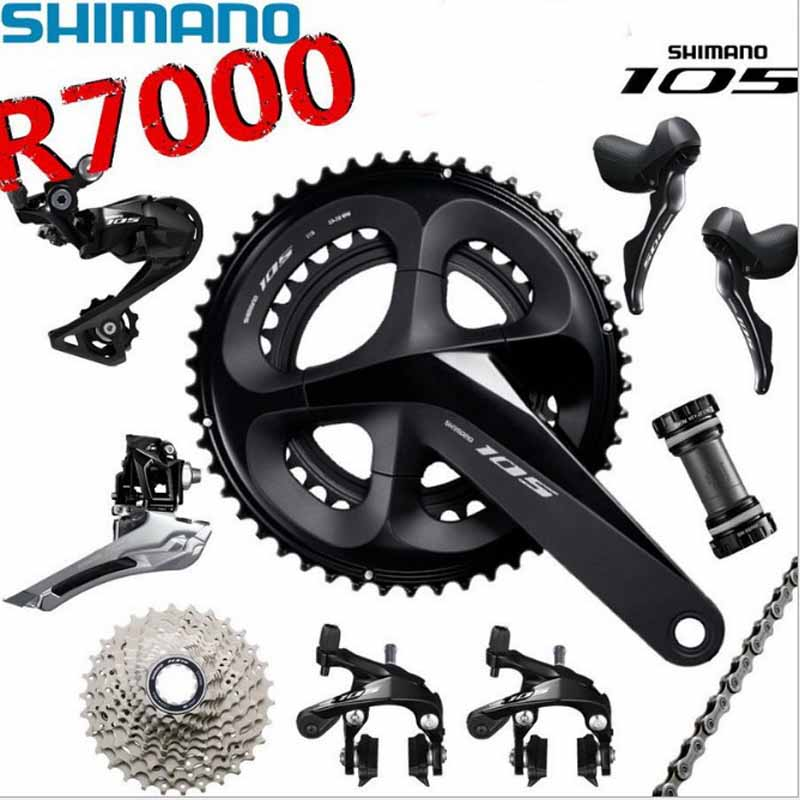 <font><b>SHIMANO</b></font> <font><b>105</b></font> R7000 2x11 road bike kit bicycle shifter sprocket kit bicycle derailleur chain crank bicycle parts drive kit image