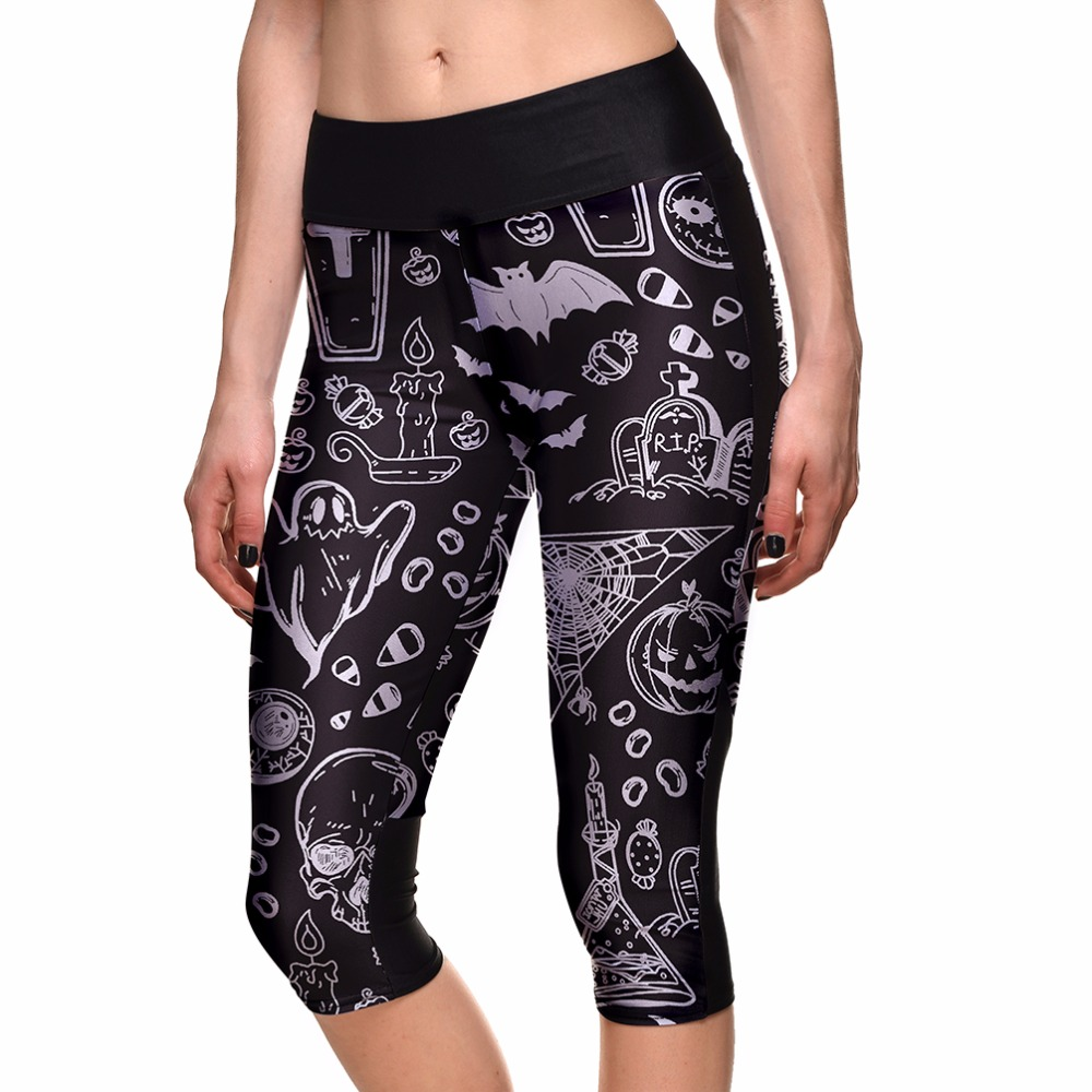 Punctual S To 4xl Halloween Skull Black Capris 3d Printing Summer Floral Skull Painting Capris For Women Plus Size