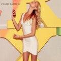 Claire HL Bandage Dress 2016 High Quality White Rayon Candice V Neck Sleeveless Ladies Elegant Party Bodycon Dresses CS149