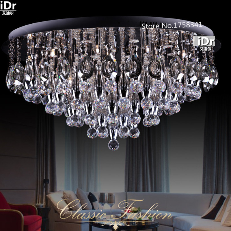 Crystal Chandelier Quality Types: New Modern Minimalist LED Crystal Round Ceiling Chandelier