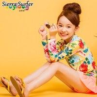 The Children Divided The Child Body Swimsuit Girls Skirt Cute Korean Girl Long Sleeved Sun Floral