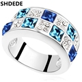New Elegant Jewelry High Quality Crystal from Swarovski Engagement Rings For Women White Gold Plated 16136