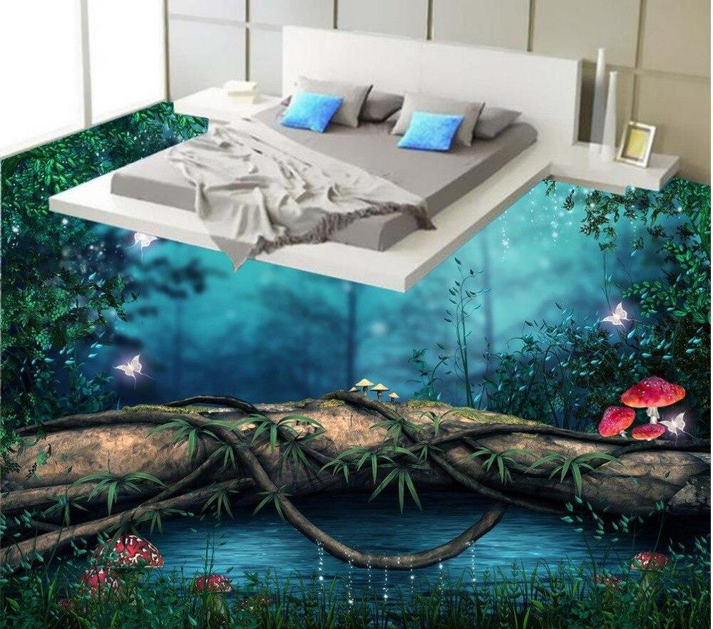 Forest Floor wallpaper 3d for bathrooms 3D room wallpaper floor Custom Photo self-adhesive 3D floor