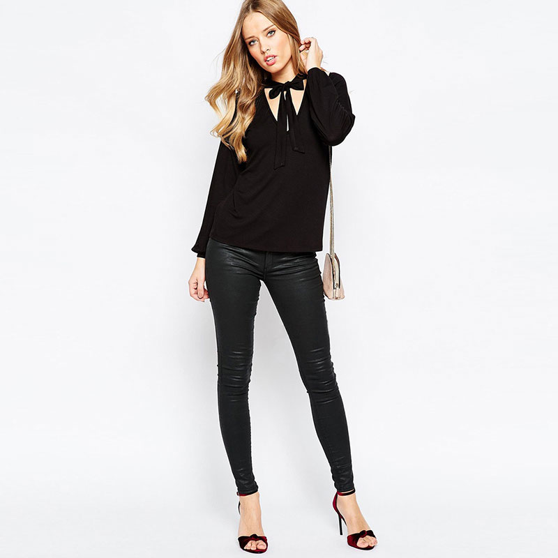 64df52aa6f8 Tie neck blouse pussy bow front shirt in black long sleeve blouse plus size  clothing WD779-in Blouses   Shirts from Women s Clothing on Aliexpress.com  ...