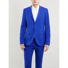 New Arrival grooms suit blue tuxedos for men wedding suits for men blue 2 pieces men suits slim fit two-button groomsmen suits