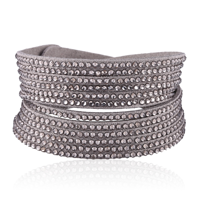 HOCOLE Trendy Rhinestone Leather Bracelets For Women Multilayer Wrap Crystal Bangles Bracelet Fashion Jewelry Female Party Gifts in Charm Bracelets from Jewelry Accessories