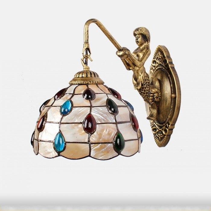 Modern pastoral Shell cauda Sereia Lâmpada de Parede LEVOU 8 polegada Mediterrâneo Tiffany lâmpada de Parede de Frente do Espelho Luz Home Lighting Indoor