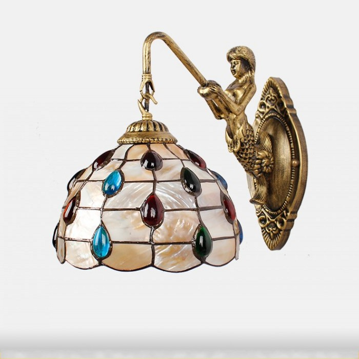 Modern pastoral tail Shell Mermaid LED Wall Lamp 8 inch Mediterranean Tiffany Mirror Front Wall Light Home Indoor Lighting mediterranean baroque pastoral natural shell pendant light tiffany led seashell pendant lamp for home decor lighting fixture
