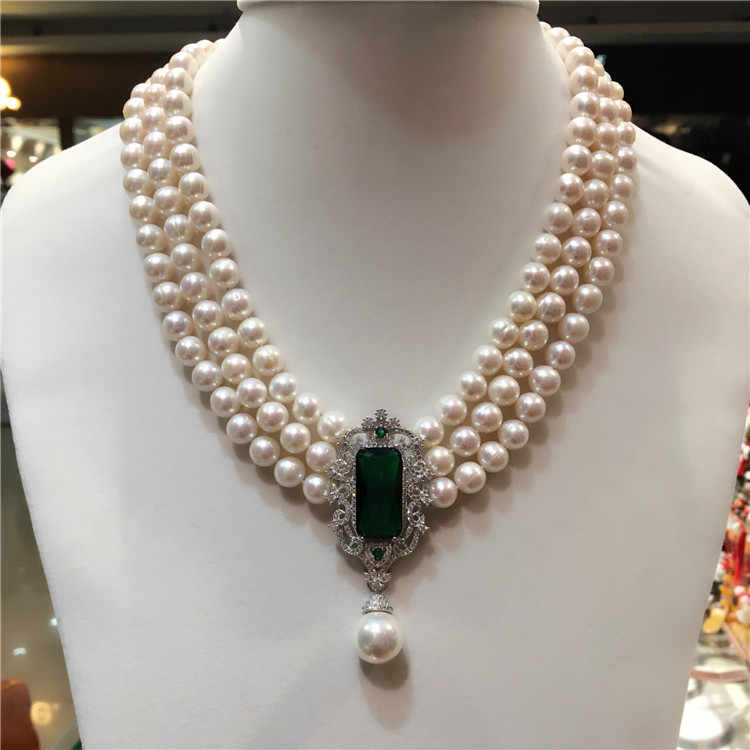 Hot sell new 8-9mm natural white freshwater pearl multi-layer necklace zircon accessories fashion jewelry