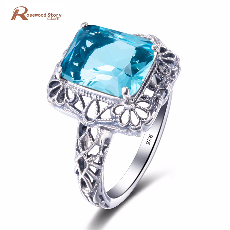 Russian Real 925 Sterling Silver Vintage Jewelry Wedding Rings For Women Blue Crystal Birthstone Engagement Bague Size 5-10