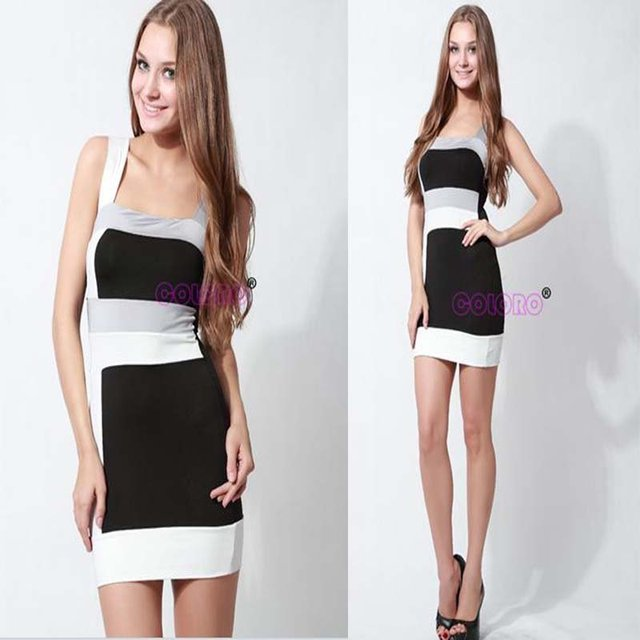 Free shipping 2012 Fashion sexy black spaghetti strap nightclub skirt,slim fit sleeveless patchwork polyester women hot dress