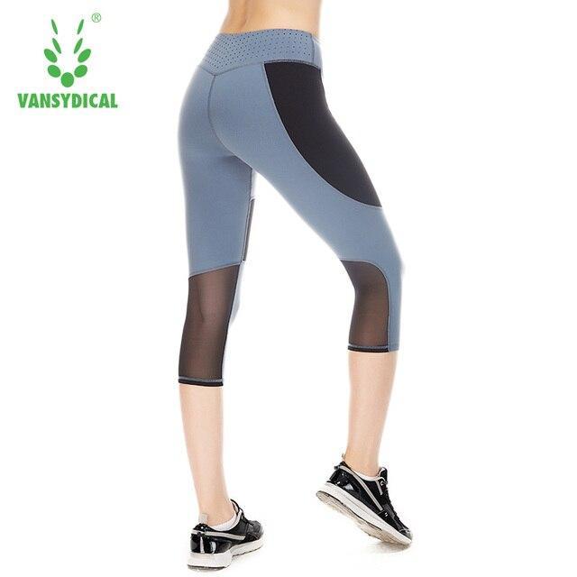 c46831414c1197 Running Tights Women Capri Leggings Fitness Girl Patchwork Elastic Tights  For Yoga Gym Workout