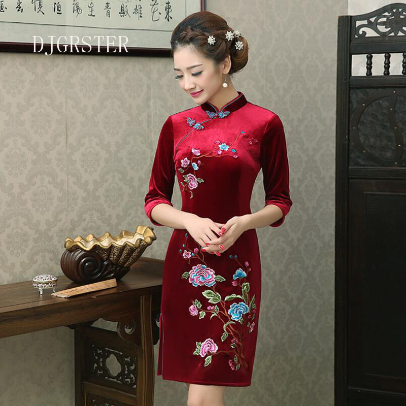 DJGRSTER 2019 Summer Women Chinese Traditional Dress Female Velvet Short Cheongsam Embroidery Evening Party  Chinese Qipao Dress