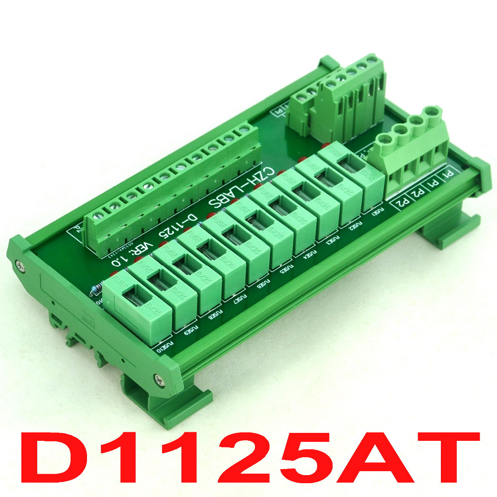 DIN Rail Mount 10 Position Power Distribution Fuse Module Board, For AC110V.