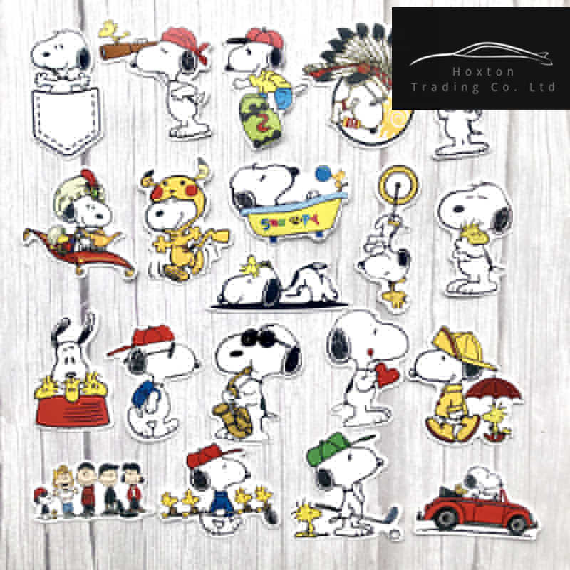 20Pcs Funny Cute Snoopy Stickers for Laptop Car Styling Phone Luggage Bike Motorcycle Mixed Cartoon Pvc Waterproof cartoon decal