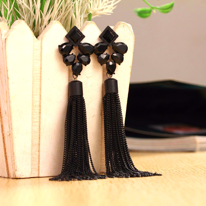 Ajojewel Very Long Black Earrings Tassel Earrings For Women Exaggerated Jewelry Crystal