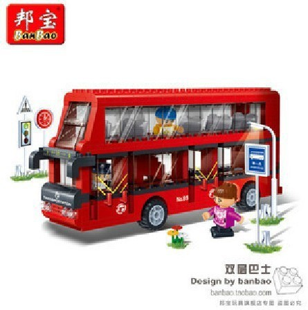 The dielectric particles small toy bricks puzzle toy car 8769 double decker bus assembly [small particles] buoubuou creative puzzle toy toy bricks 30 16219 new military military series