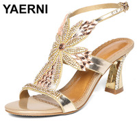 YAERNI Women's Summer Flat Rhinestone Sandals Leather Flowers Purple Gold Purple Ladies Sandals Flat Shoes Women Dames Schoenen
