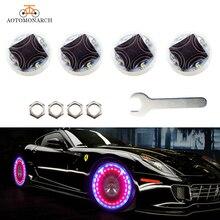 AOTOMONARCH 4pcs LED Solar Energy Valve Light Waterproof Nozzle Cap Lamp Rim Wind Fire Wheels Led Flash Tyre CJ