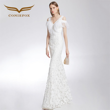 CONIEFOX 32218 white Toast vintage embroidery mermaid Ladies elegance Improved host prom dresses party evening dress gown long(China)