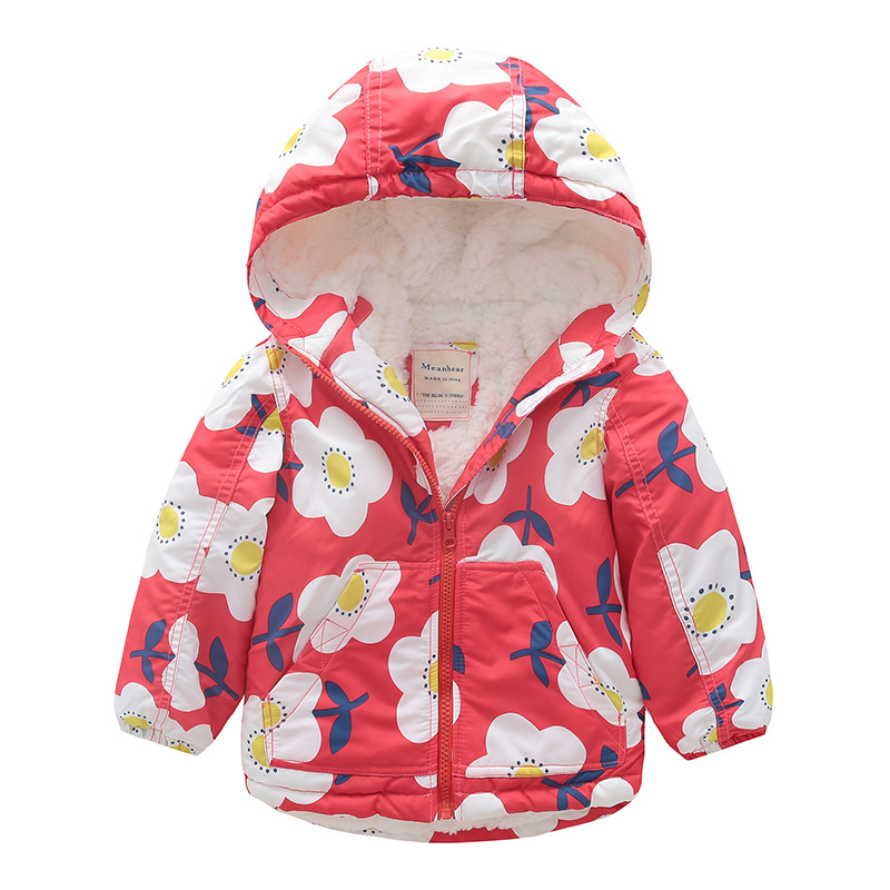 Toddler Baby Girls Boys Coat Toddler Jacket Outwear Floral Printed Winter Windproof Hooded Clothes
