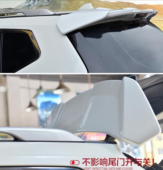 lane legend case For Nissan X-Trail Rogue T32 2014-2017 Car Trunk Lip Rear Aero Add-on Spoiler Wing Cover Trim Pearl White Black 2014 2015 for nissan rogue x trail rear tail licence plate cover trim trunk frame cover trim chrome
