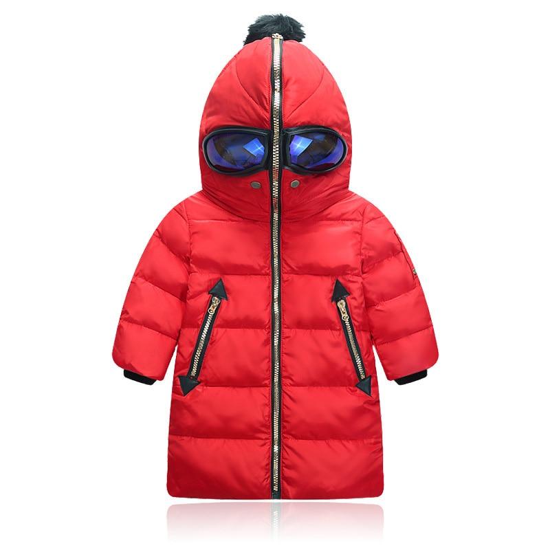 ФОТО Boys Girls Winter Coat 2016 Winter Creative Style Children Long Warm Glasses Hooded Down Coats for Kids Winter Jacket Boys Parka