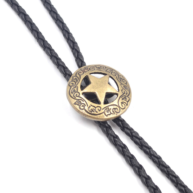 Lychee Gothic Punk American Metal Hollow Star Synthetic Leather Bolo Tie Shirt Bola Neck