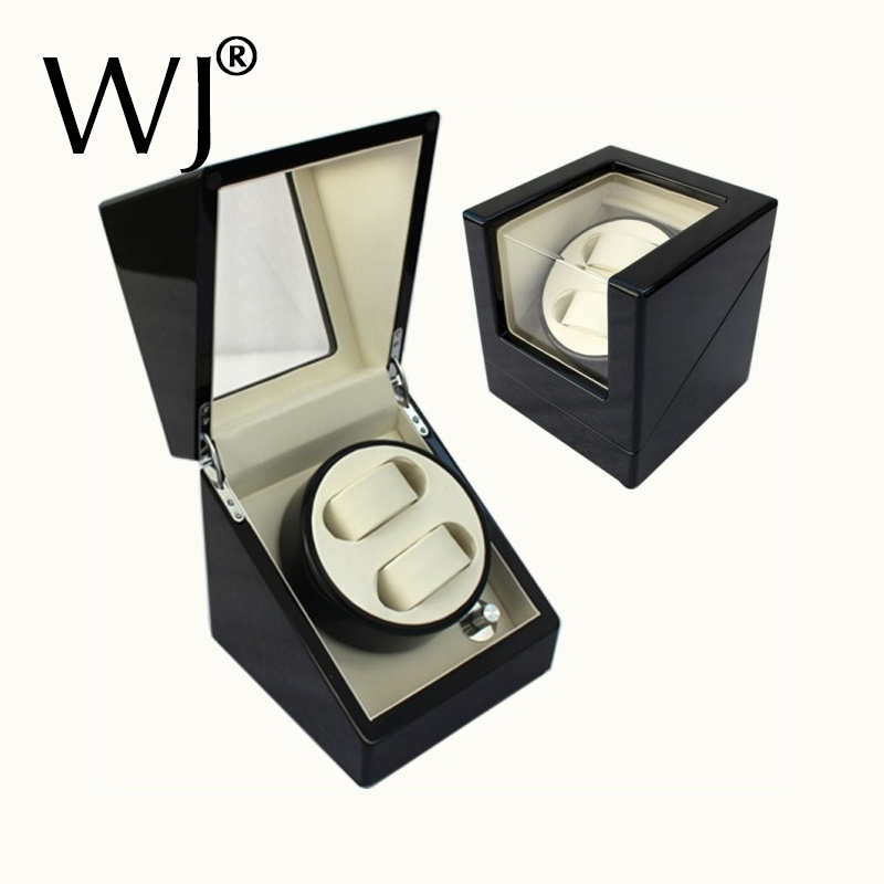 Luxury Piano Painted Wooden Automatic Rotate Watch Winder Box Original Double Watch Display Holder Storage Case Silent Motor
